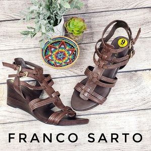 Franco Sarto Leather Wedge Woven NWT Brown Sz 9